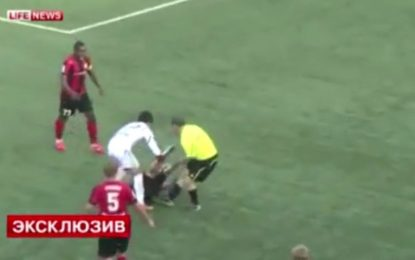 Árbitro assitente banido da Rússia por agredir jogador