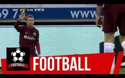 Tom Hogli (Club Brugge) fez um corte… na cabeça do adversário.