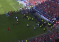 Bancada cede no estádio do Osasuna