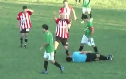 Na Argentina: Árbitro fica KO depois de levar murro de jogador