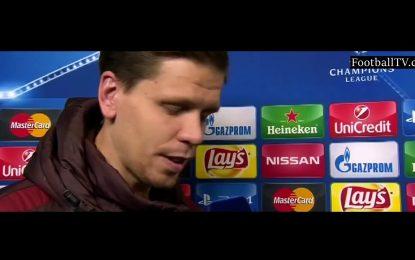 """Szczęsny levou 6 do Barcelona, mas diz que """"foi bonito de ver"""""""