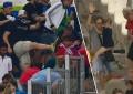 Imagem de pai a passar com filho no meio da violência após o Inglaterra v Rússia torna-se viral